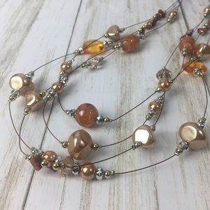 "20"" 4-Strand Necklace Amber Gold-tone Bead"